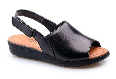 Sandalia Super Conforto Velcro Preta
