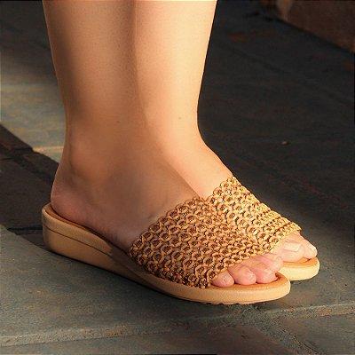 Sandália Super Conforto Trama Caramelo