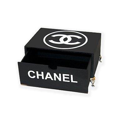 Mini Gaveta Chanel em MDF na cor Preto Fosco