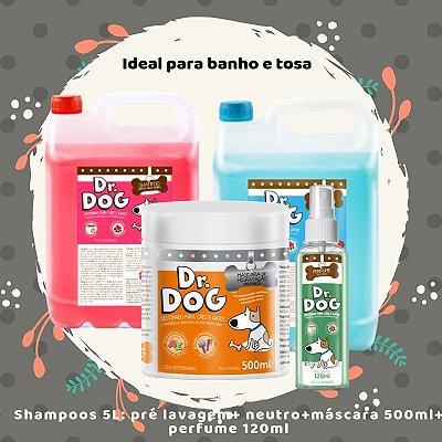 Kit Banho e Tosa Dr. Dog Premium Completo Petshop 5L