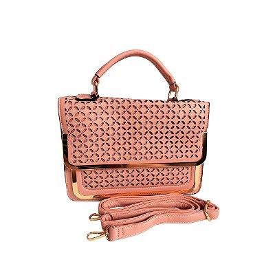 Bolsa Rosa Claro e Dourado