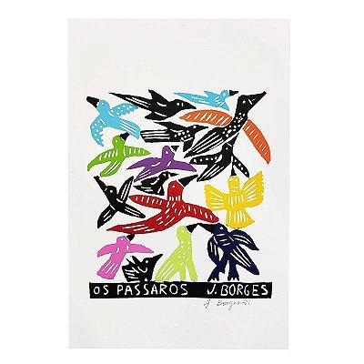 """Xilogravura """"Os Passaros"""" M - J. Borges - PE"""