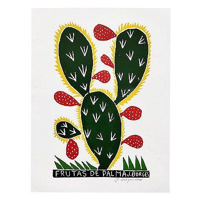 "Xilogravura ""Frutas de Palma"" G - J. Borges - PE"
