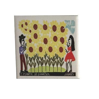 Azulejo em Xilogravura O Plantio de Girassol J. Borges - PE