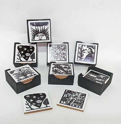 Porta Copos em Xilogravura- estampas variadas- J. Borges - PE