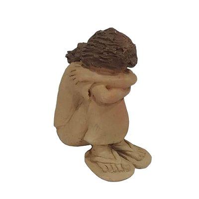 Escultura Menina em Barro - MG