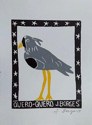 "Xilogravura ""Quero-Quero"" P -  J. Borges - PE"