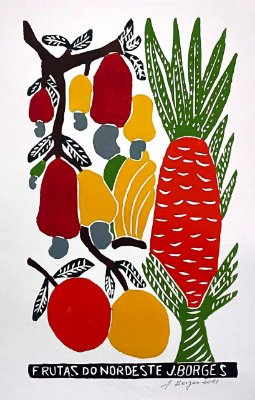 "Xilogravura ""Frutas do Nordeste"" G -  J. Borges - PE"