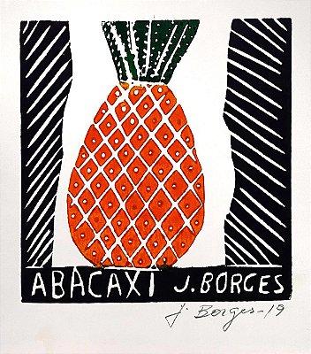 "Xilogravura ""Abacaxi"" P - J. Borges - PE"