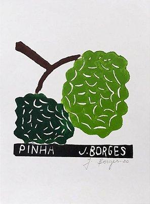 "Xilogravura ""Pinha"" P - J. Borges - PE"