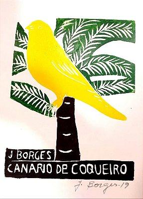 Xilogravura J. Borges Canário de Coqueiro P- PE