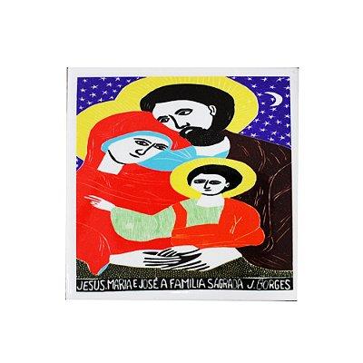 Azulejo em Xilogravura Jesus Maria e José a Família Sagrada J. Borges - PE