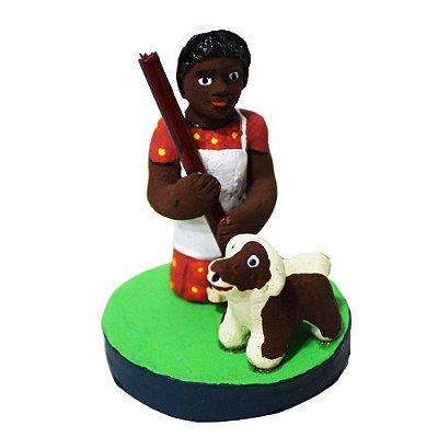 Mini Escultura Mulher com cachorro - Figureiras de Taubaté - SP
