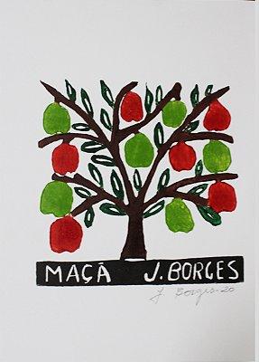 Xilogravura J. Borges Maçã P - PE