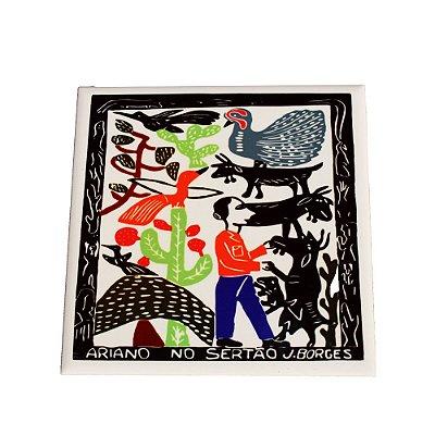 Azulejo em Xilogravura Ariano no Sertão J. Borges - PE