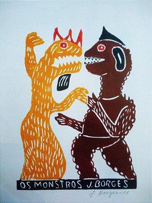 Xilogravura J.Borges Os Monstros M - PE