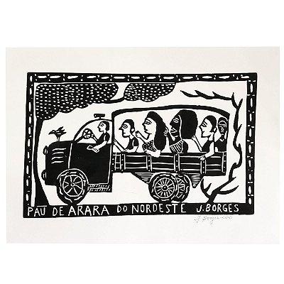 "Xilogravura ""Pau de Arara do Nordeste"" G - J. Borges - PE"