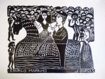 Xilogravura J. Borges Cavalo Marinho G - PE