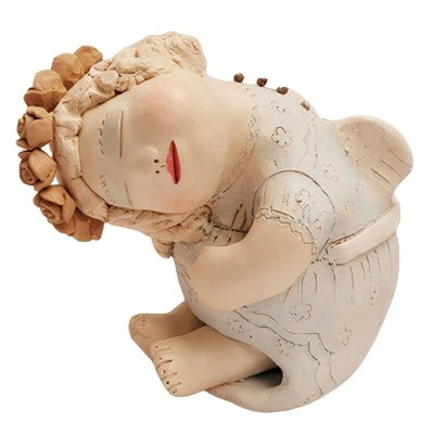 Anjo em Cerâmica Deitado - Nené Cavalcanti - PB