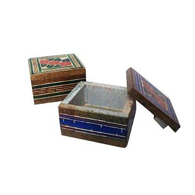 Par de caixas bordado em pedra sabão- estampas variadas PP- MG