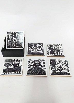 Porta Copos em Xilogravura- estampas variadas M- J. Borges - PE