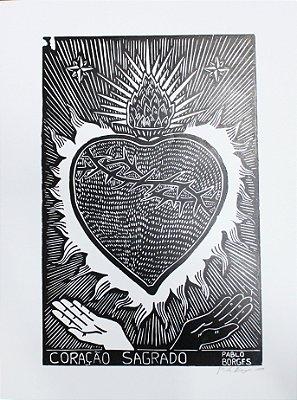 Xilogravura P. Borges Coração Sagrado G - PE