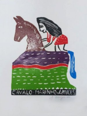 "Xilogravura ""Cavalo Marinho"" M - J. Borges - PE"
