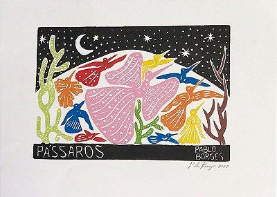 Xilogravura Pablo Borges Pássaros M - PE