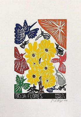 Xilogravura Pablo Borges Beija-Flores M - PE