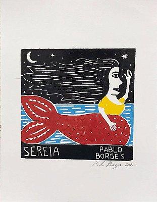 Xilogravura Pablo Borges Sereia P- PE