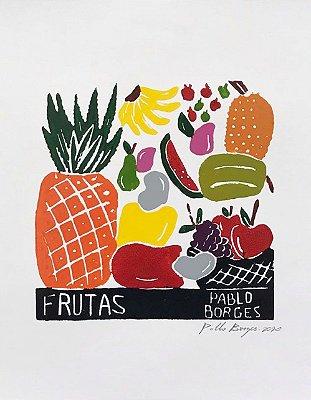 Xilogravura Pablo Borges Frutas P- PE