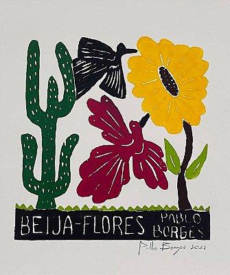 """Xilogravura  """"Beija-Flores"""" P - Pablo Borges - PE"""