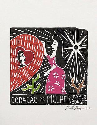 """Xilogravura """"Coração de Mulher""""  P - Pablo Borges - PE"""