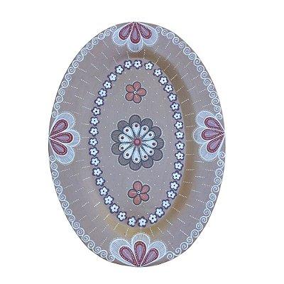 Prato Oval Parede Bege M - Nusa