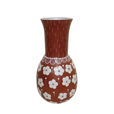 Vaso G vermelho floral - Ana - Vale do Jequitinhonha - MG