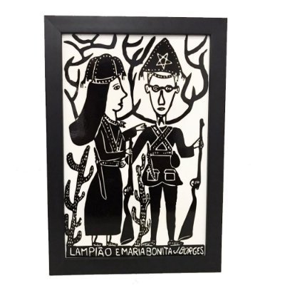 "Quadro Xilogravura ""Lampião e Maria Bonita"" G -  J. Borges  - PE"