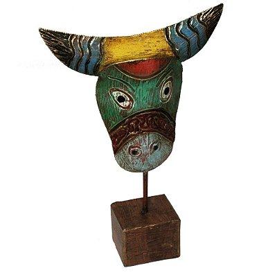 Escultura boi com base em madeira P - Patrícia Barros - PE