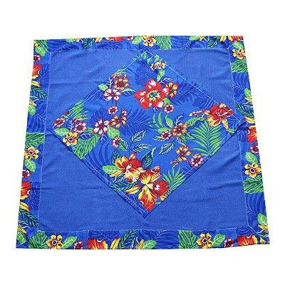 Toalha de mesa de algodão com chitão azul 1,10 x 1,10 - MG