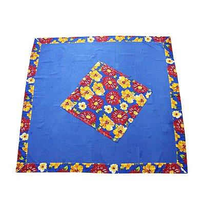 Toalha de mesa de algodão com chitão azul 1,50 x 1,50 - MG