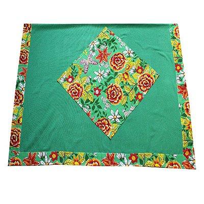 Toalha de mesa de algodão com chitão verde 1,50 x 2,20 - MG