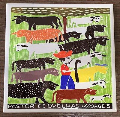 """Azulejo """"Pastor de Ovelhas"""" do J. Borges M - PE"""