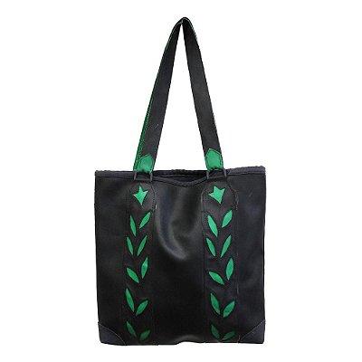 bolsa couro ecológico preta detalhes de folhas - AC