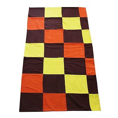 colcha casal retalhos  marrom, amarelo e laranja - CE