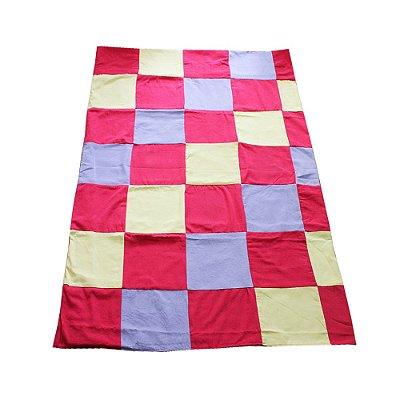 colcha queen retalhos pink, roxo e amarelo claro - CE