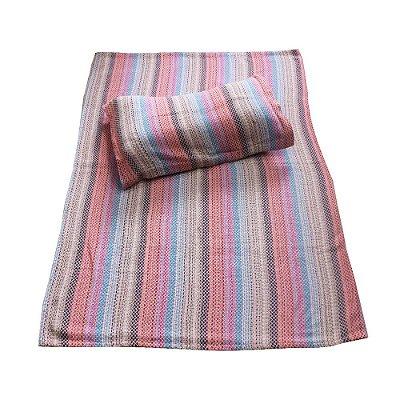 colcha de solteiro colorido com porta travesseiro   - MG