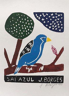 Xilogravura J. Borges Saí Azul P- PE