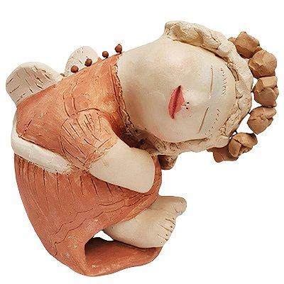Anjo em Cerâmica Deitado - Nené Cavalcanti- PB