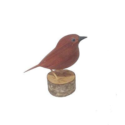 Pássaro Marrom de Madeira - Mestre Toninho MG