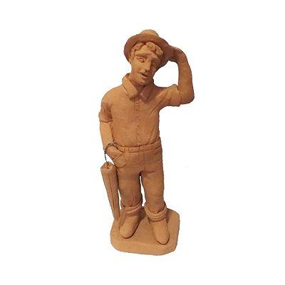 Escultura Homem com Guarda-Chuva - Figureiras de Taubaté SP