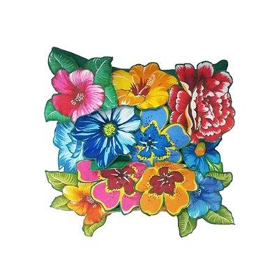 Capa de Almofada com Flores de Chitão - PB